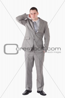 Portrait of a tired young businessman