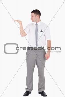 Portrait of an office worker holding something