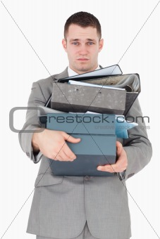 Portrait of a overwhelmed businessman