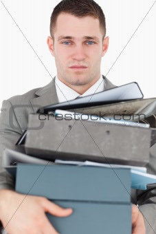 Portrait of a overwhelmed young businessman