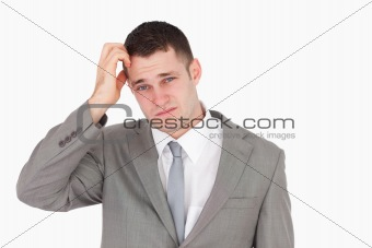 Anxious young businessman