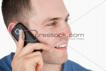 Close up of a man on the phone
