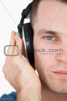 Close up of a man listening to music