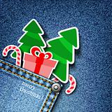 Denim xmas background.
