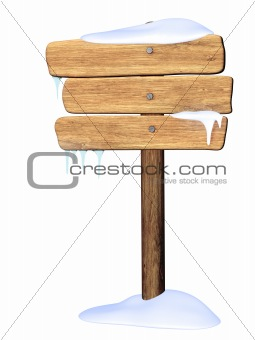 Wooden signboard. Winter