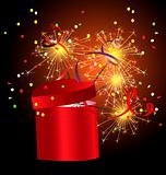 red gift box with sparkler