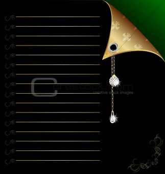 black-green paper with gold corner and crystal