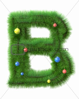 B letter made of christmas tree branches