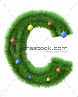 C letter made of christmas tree branches