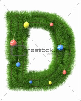 D letter made of christmas tree branches