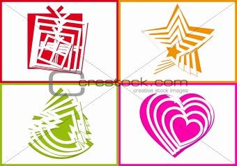 cutout holiday symbols, vector