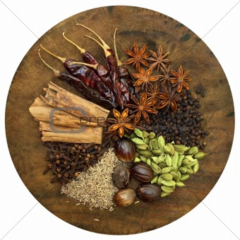 Mixed Spices on a Wooden Chopping Board