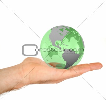 Masculine hand holding a 3d planet globe