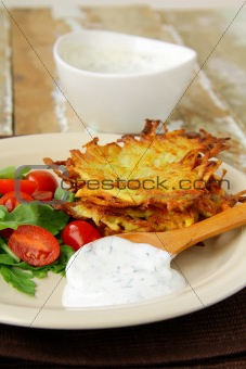 potato pancakes with dill and sour cream
