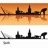 Seville Skyline in orange background