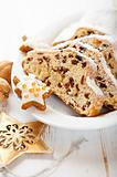 Christmas stollen with icing sugar