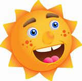 Funny cartoon sun