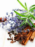 Closeup of spices, rosemary and lavender flowers