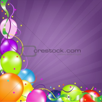 Background With Balloons With Sunburst