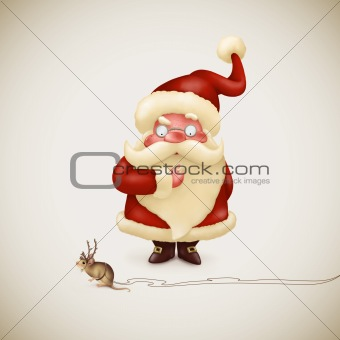 Santa Claus with a strange little reindeer