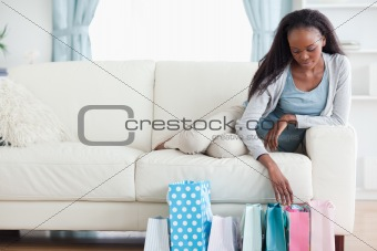 Woman looking at her shopping