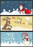 3 christmas banners in vector