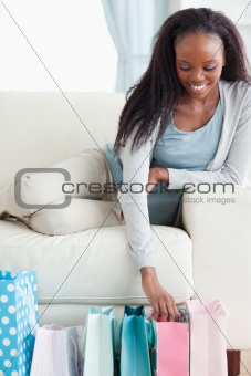 Close up of woman happy about her shopping