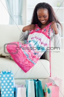 Close up of woman with her shopping