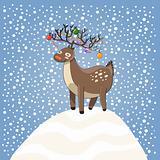 Cartoon christmas dear on snow