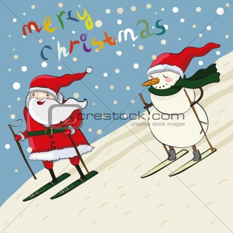 Cartoon santa and snowmen ski