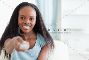 Close up of woman with remote control