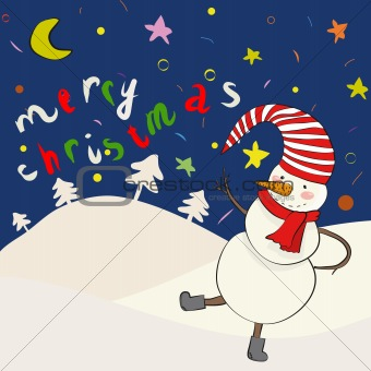 Cartoon snowman in vector