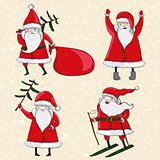 Four happy cartoon Santas