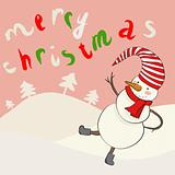 Funny cartoon snowman in vector