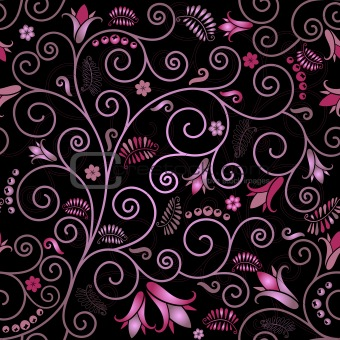 Black floral seamless pattern