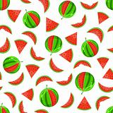 whole and sliced watermelon seamless pattern