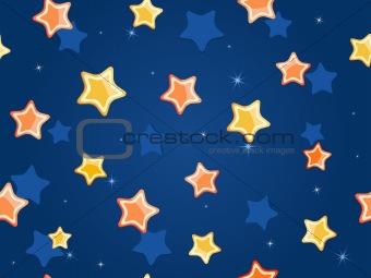 Cartoon stars at blue sky. Vector Pattern