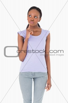 Close up of woman thinking on white background