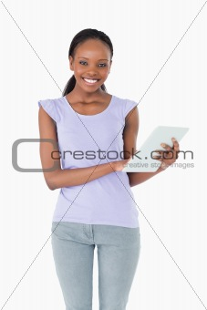 Close up of woman using her tablet on white background
