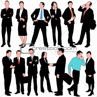 13 Detailed Business People Silhouettes Set