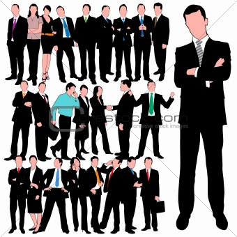 25 Detailed Business People Silhouettes Set