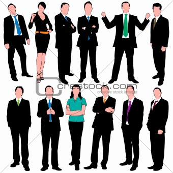 12 Detailed Business People Silhouettes Set