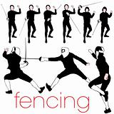 9 Detailed Fencing Silhouettes Set