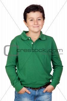 Beautiful boy dressed in green