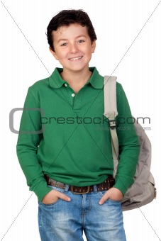 Adorable student dressed in green