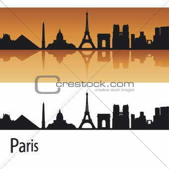 Paris skyline in orange background