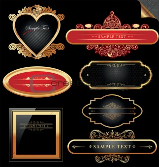 Ornate decorative golden vector frames