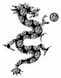 Chinese Dragon Archaic Motif Black and White Clip Art