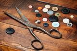 Vintage scissors and buttons