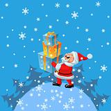 vector a happy Santa Claus brings of many gifts